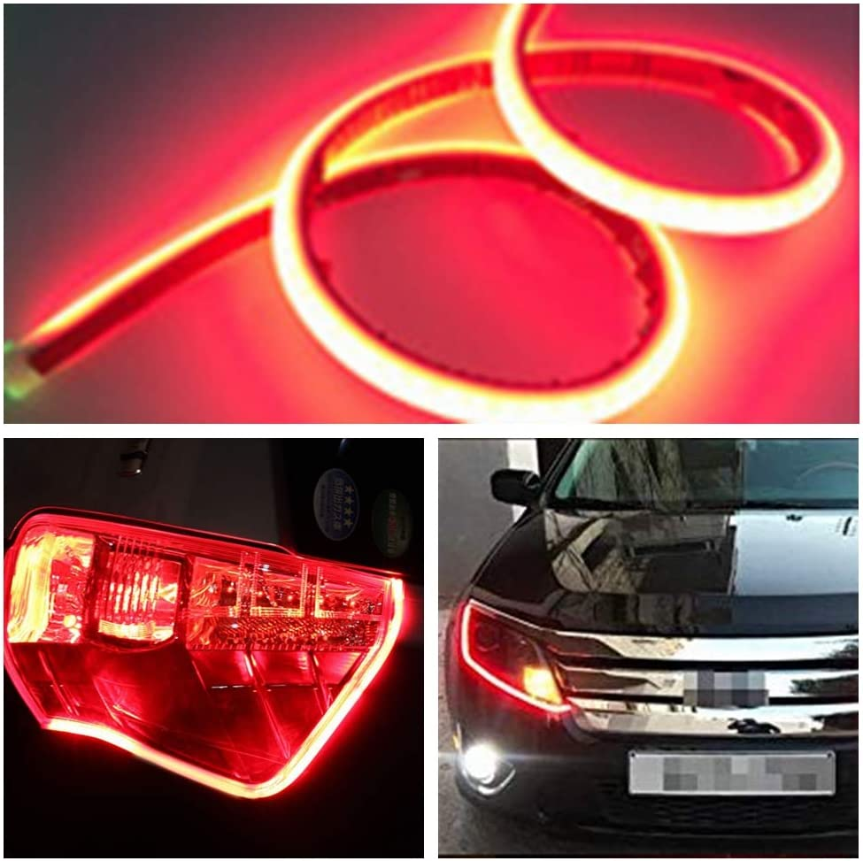 Ultrafine DRL LED Strip Tube Flexible Waterproof Daytime Running Light Red For Car Headlight LED Strip,Decorative Lamp,Running Light,Neon Lights,Turn Signal Light YSY , Red 11inch 30cm
