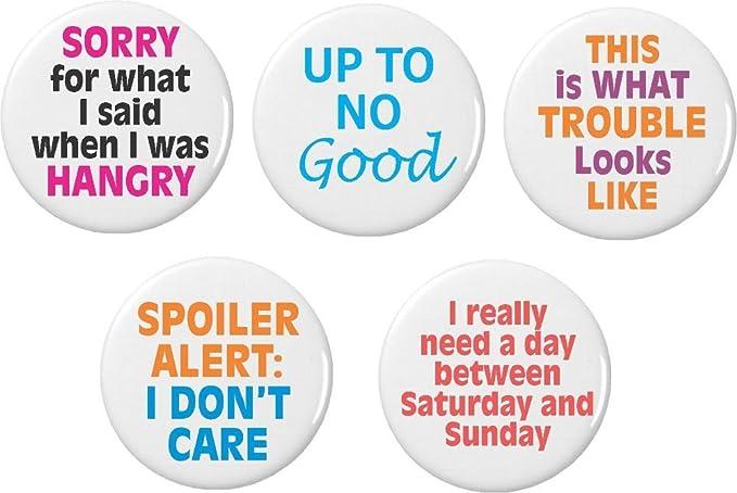 Amazoncom Set 5 Cute Life Funny Humor Quotes Sayings Pinback