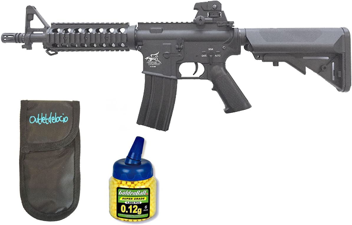 Outletdelocio. Pack Rifle Airsoft SR4 Novice Dragon AEG Electrico. Calibre 6mm. + Funda Portabalines + Biberon 1000 Bolas. 23054/21993