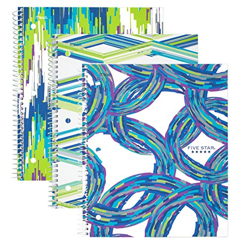 """Five Star Spiral Notebooks, 1 Subject, College Ruled, 11"""" x 8-1/2"""", Style, Assorted Cool Designs, 3 Pack (38775)"""