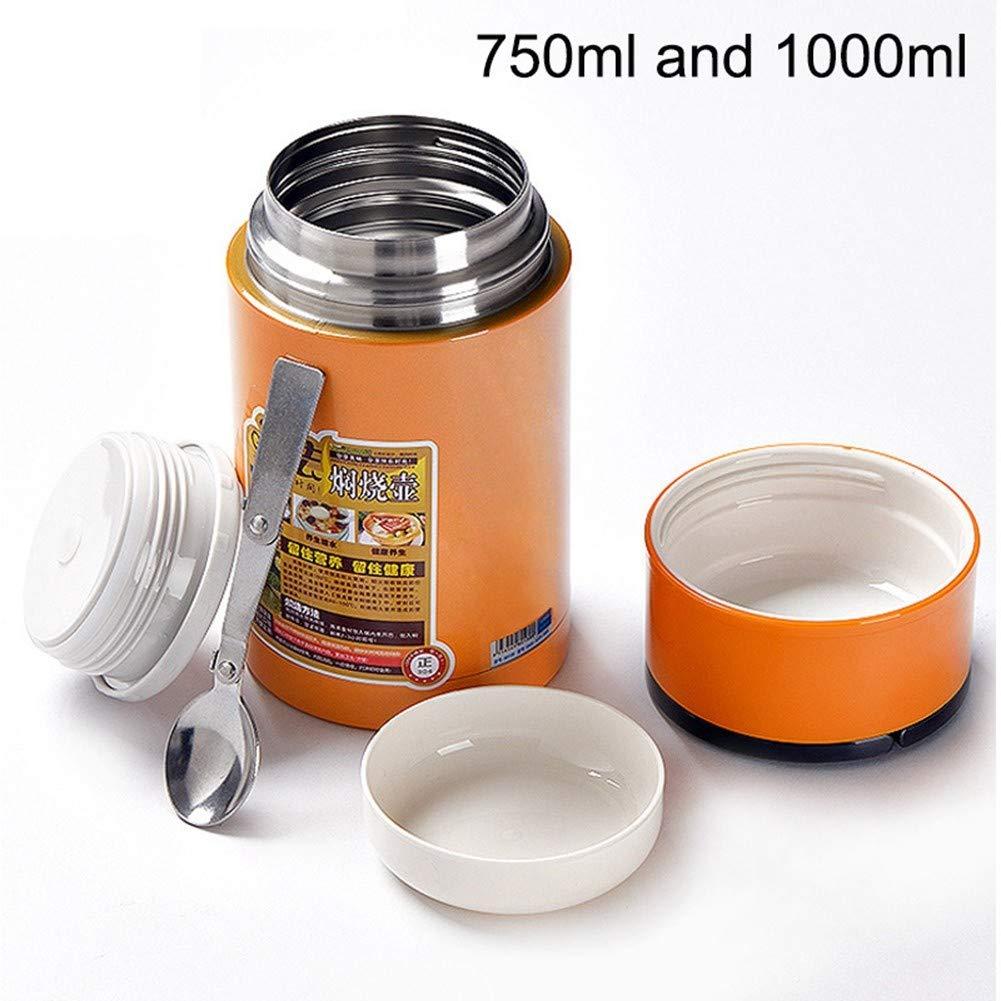 CMXHGKDJ Flasche Edelstahl-Thermo-Lunchbox Suppenbecher 1L Lebensmittelbehälter Thermos tragbarer Griff vakuumisolierte Lebensmittelbehälter INOX-Löffel
