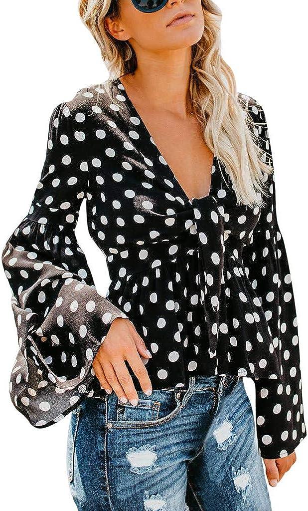 Luckycat Casual de Mujer Solid Camisa Manga Larga Blusa Camisas con Volantes: Amazon.es: Ropa y accesorios