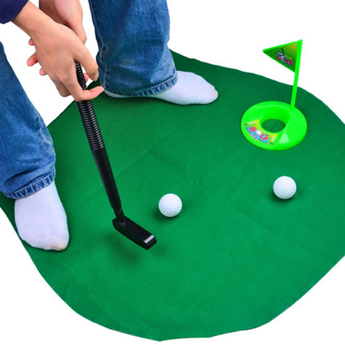 Toilet Golf, WOLFBUSH Bathroom Toilet Golf Game Sports Toy Play Set A Whimsical Golfing Indoor Practice Mini Golf Gag Gift Set Kids Men Funny Novelty Toy Training Accessory Aid for Any Toilet