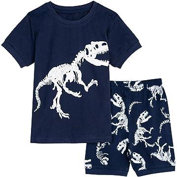 A&J DESIGN Kids Boys Dinosaur Pajamas Cotton Short Sleeve Sets