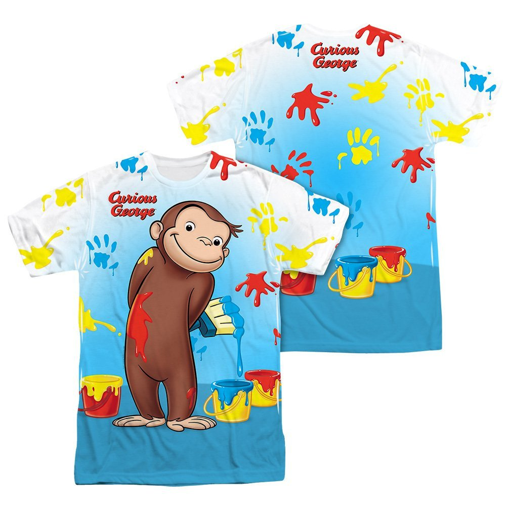 Sons of Gotham Curious George Paint All Over Adult All Over Print 100/% Poly T-Shirt
