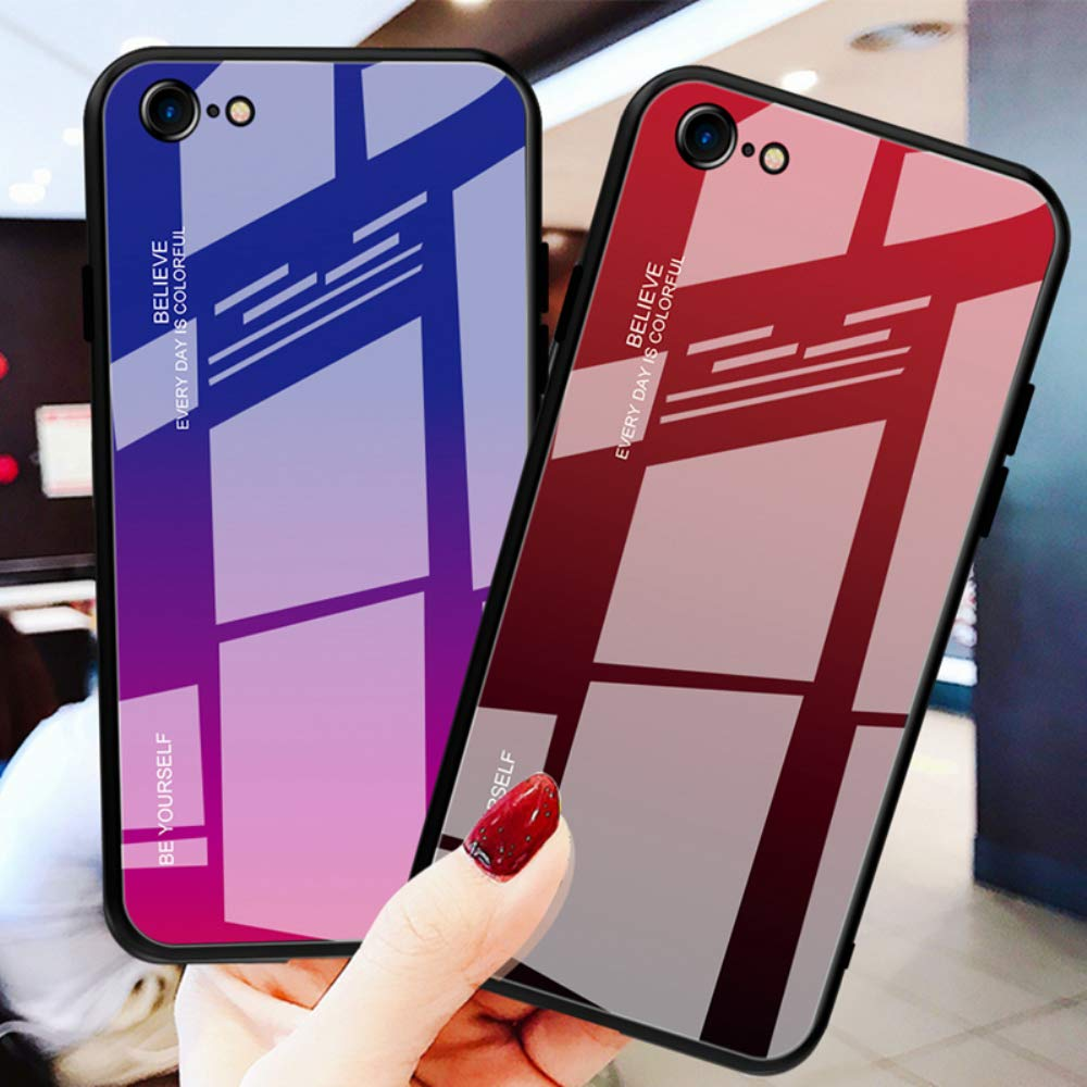 Soft TPU Bumper Frame Shockproof Anti-Scratch Protective Cover AIsoar Compatible with iPhone 7 Plus//8 Plus Colored Gradient Tempered Glass Case,Tempered Glass Back Cover Red + Black