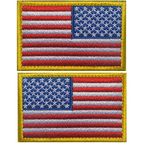 Bundle 2 Pieces - the Left and Right Sides Embroidery Tactical USA Flag Patches (Color d) (Side Velcro Two)
