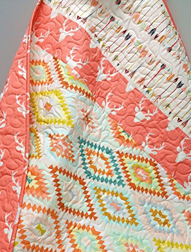 Baby Girl Aztec/Tribal Coral Quilt by Now and Then Quilts