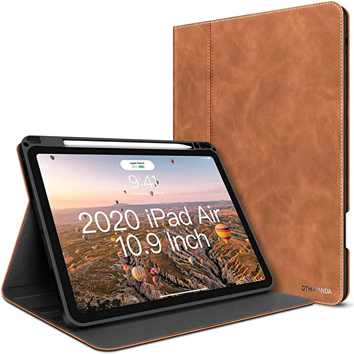 iPad Air 4 Case 2020 iPad 10.9 Inch PU Leather Case with Pencil Holder - Minimalist Folio Smart Cover [Supports Wireless Charging & Fingerprint Unlock] (Ash Brown)