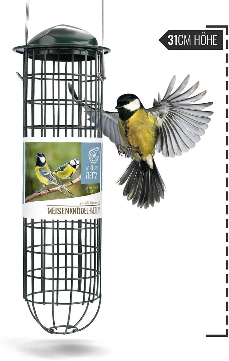 wildtier herz | Soporte para pájaros con rejilla de acero inoxidable, columna para cebo para pájaros - alimentación ecológica sin red