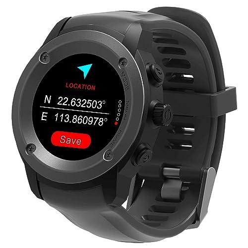 GPS Watch Running Watch Heart Rate Monitor Multisport Smartwatch (Black)