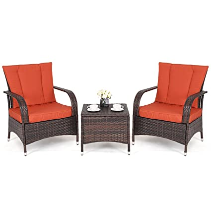 Amazon.com: MBN - Muebles de mimbre para patio o patio, mesa ...