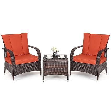 Amazon.com: MBN - Muebles de mimbre para patio o patio, mesa ...