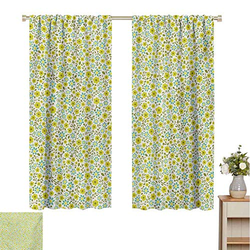 Mozenou Garden Art, Customized Curtains, Blossoming Spring Flora in Green Shades Ditsy Style Nature Inspired Pattern, Window Curtain Drape Multicolor