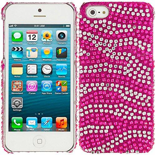 Hot Pink Silver Zebra Rhinestone Bling Case Hard Cover fo...
