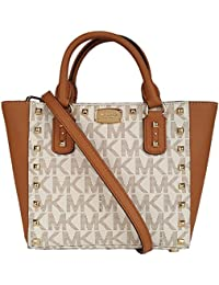 Sandrine Stud Acorn Small Crossbody Leather Handbag Vanilla