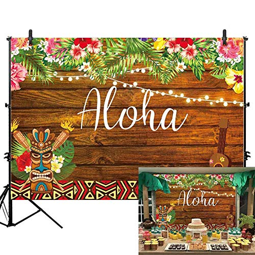 Allenjoy 7x5ft Summer Aloha Luau Party Backdrop Tropical Hawaiian Flowers Wooden Sculpture Photography Background Sea Palm Birthday Musical Party Banner Decoration Cake Table Photo Studio Booth Props -