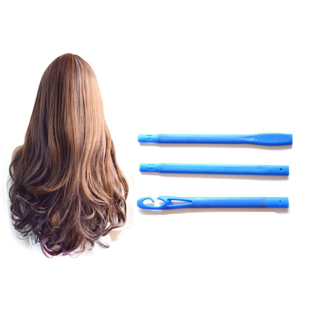 65Cm 18Pcs Spiral DIY Plastic Hair Curler Rollers Size Styling Tools With 3 Stick Hooks Diameter 2.5Cm