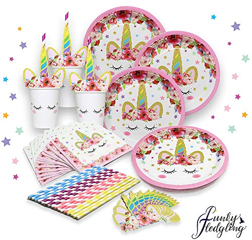 Unicorn Party Supplies Set - Serves 16 - Perfect For Birthday Girls, Baby Showers, and First Birthday Party Favors -Original sleepy Unicorn Party Supply Set by Funky (Dinner Party Favors)