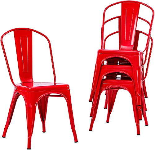 Metal Indoor-Outdoor Chairs Distressed Style Kitchen Dining Chairs Stackable Side Chair