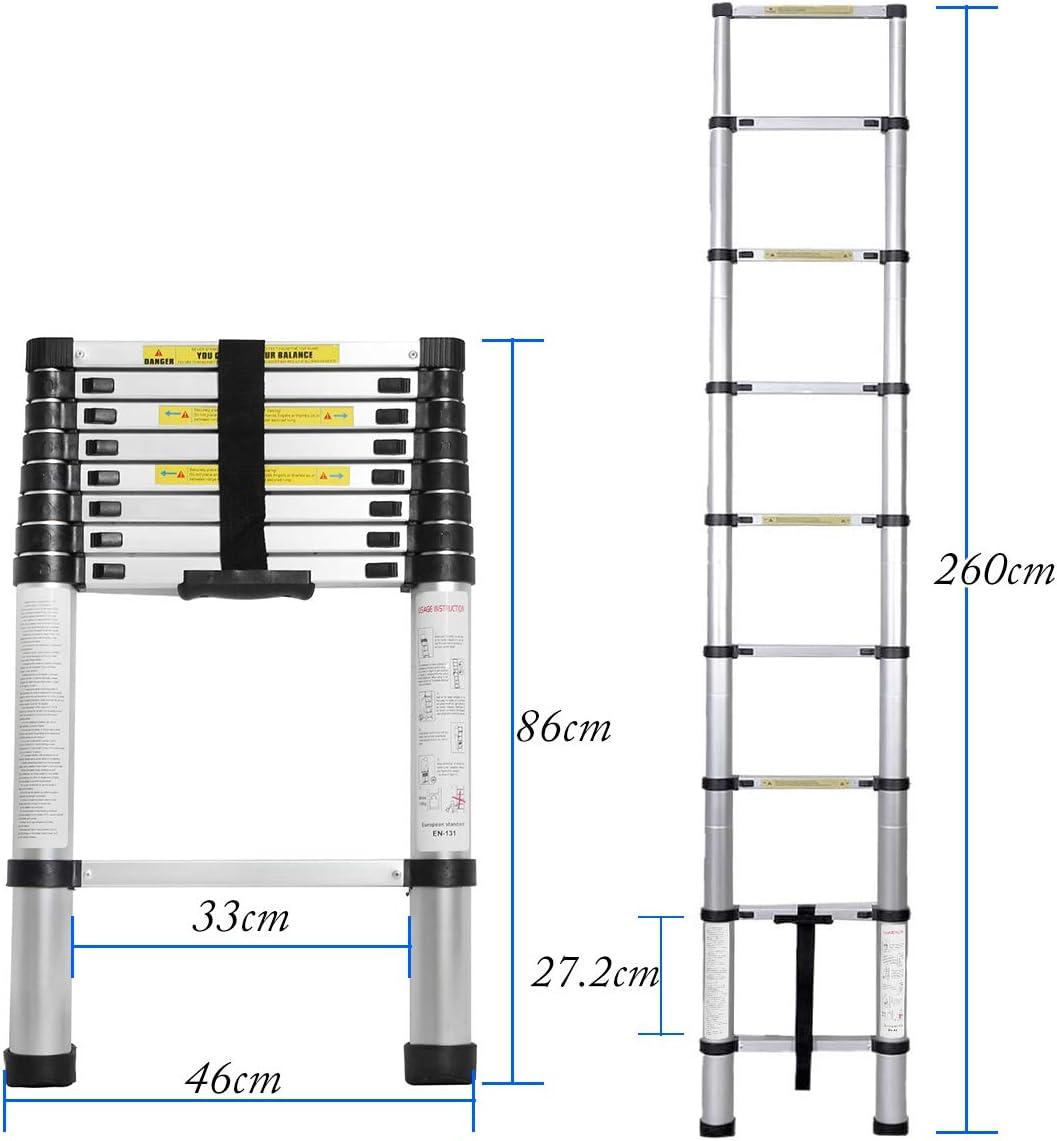Maximale Belastbarkeit: 150 kg BHEU-KS-MS-002 rutschfeste Stehleiter Anlegeleiter Mehrzweckleiter Haushaltsleiter sogesfurniture 2.6M Alu Teleskopleiter Klappleiter tragbar