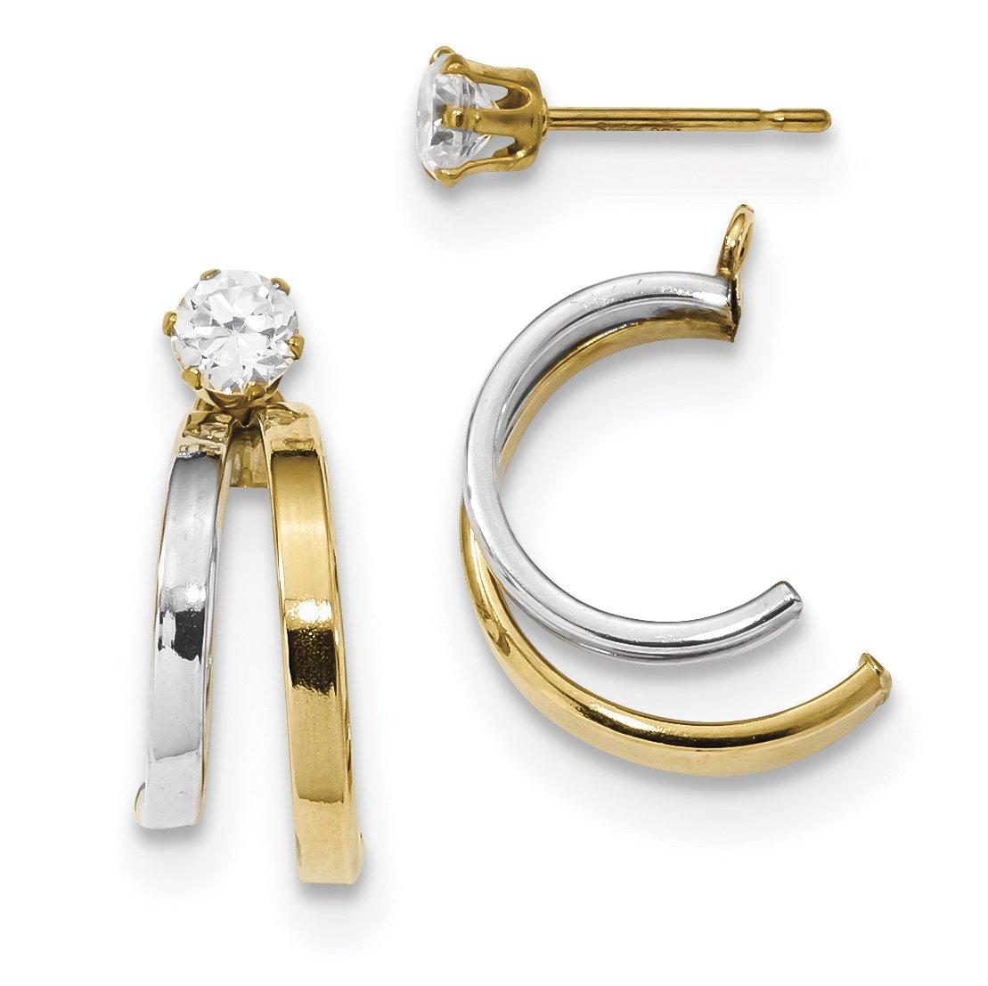 ICE CARATS 14k Two Tone Yellow Gold Double Hoop Earrings Ear Hoops Set Jacket Earring Jackets Studs Cubic Zirconia Cz Ball Button Stud Fine Jewelry Gift Set For Women Heart