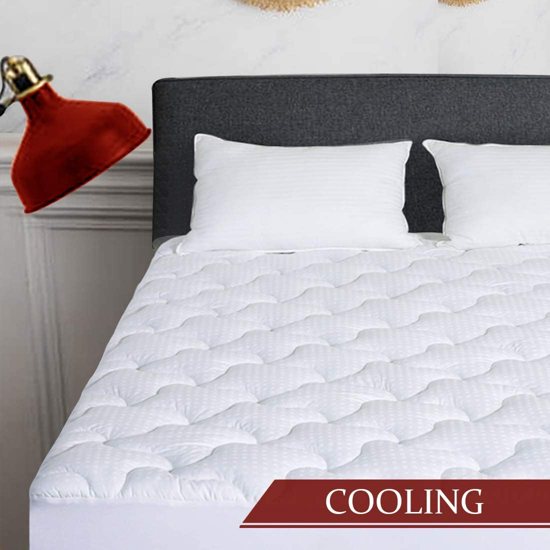 INGALIK Mattress Pad King Size Cotton Mattress Topper Cooling Mattress Pad Cover Pillow Top (8-21Inch Deep Pocket Down Alternative)