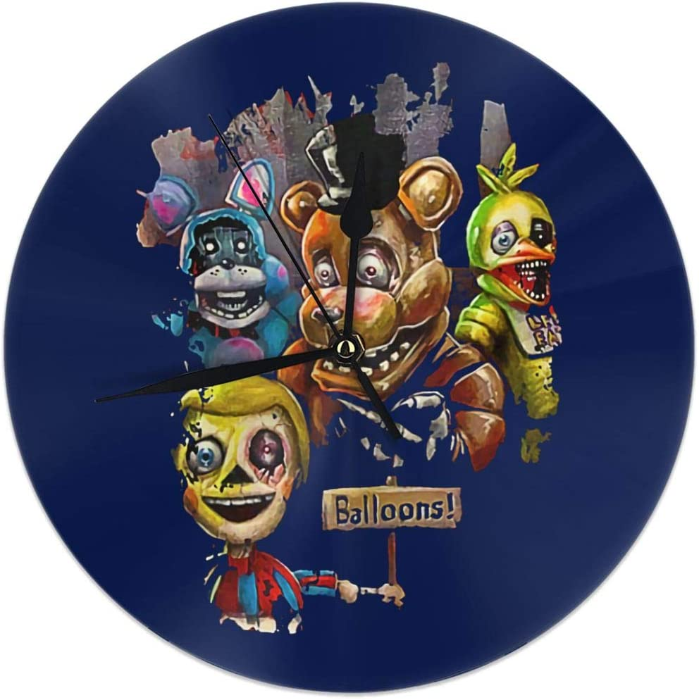 Fimend Five-Nights-at-Freddy FN-AF Modern Wall Clocks Vintage Style Round Glass Wall Clock,Retro Hanging Clock, Home Decor Accessories