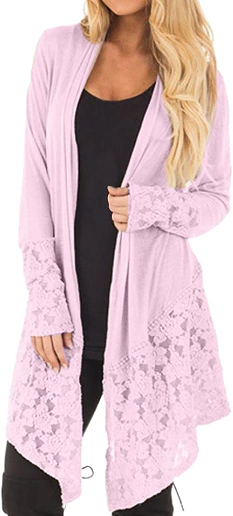 DEELIN Women Fashion Lace Patchwork Long Sleeve Casual Pure Color ...