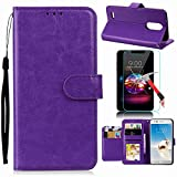 LG Stylus 4 Case, LG Q Stylus Case, LG Stylo 4 Case With Screen Protector, I VIKKLY [Kickstand] Magnetic Snap Premium PU Leather Wallet with Card Slot Folio Flip Case for Stylo 4 (2018) (Purple)