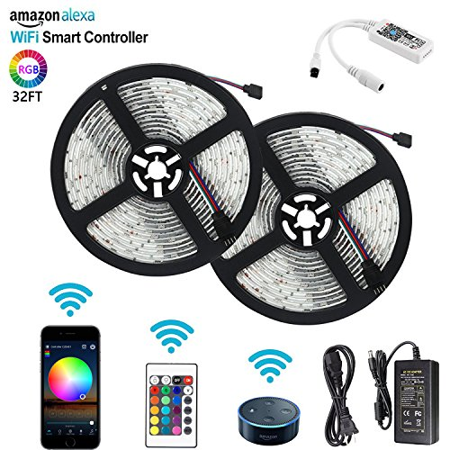 LED Light Strip, MIBOTE WiFi Wireless Smart Phone APP Controlled Strip Lights Kit 32.8ft 300 Leds Waterproof IP65 Led Rope Lights With DC12V UL Listed Power Supply, Work with Android, IOS and Alexa