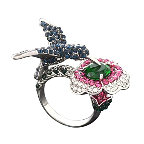 dragon868 ❃ Anillo Mujer ❃ Trabaje creativas dreidimensionaler Zafiro de colibrí Anillo de Matrimonio de tamaño
