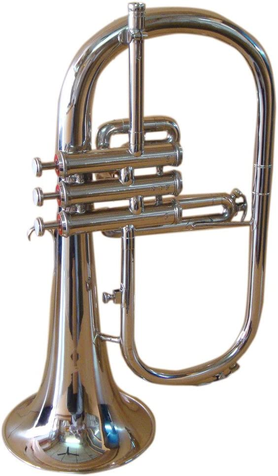 OSWAL Bb Flat Silver Nickel Flugel Horn With Free Hard Case+Mouthpiece: Musical Instruments