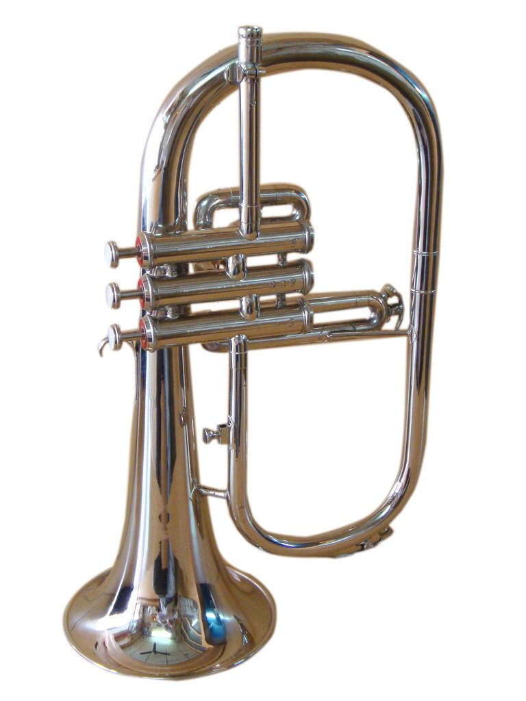 OSWAL Bb Flat Silver Nickel Flugel Horn With Free Hard Case+Mouthpiece 1013