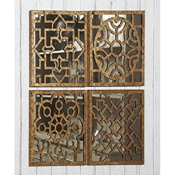 Nice Tutti Decor Set Of 4 Moroccan Style Square Mirrored Wall Art Each 40cm  Square: Amazon.co.uk: Kitchen U0026 Home