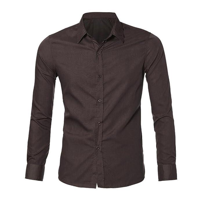 Landfox Vestido Informal con Estilo de Lujo para Hombre Camisetas Ajustadas Manga Larga Informal (M