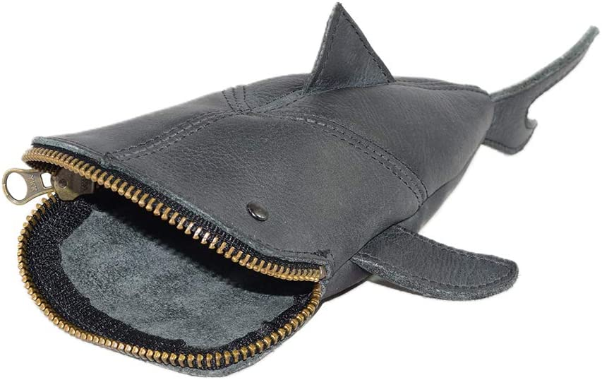 Hide & Drink, Leather Pouch Pencil Bag, Coin Purse, Scissors Case, Shark Cable Holder, Phone Case, Wallet, Makeup, Stuffed Animal, Handmade Includes 101 Year Warranty :: Charcoal Black