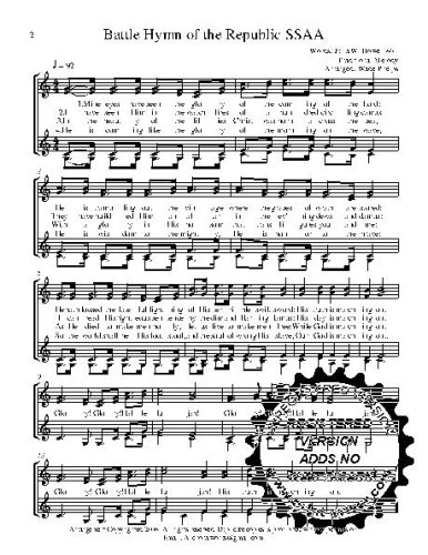 Ssaa Choral Sheet Music - Battle Hymn 50 copies A capella  SSAA Choral Sheet Music! Acappella music arranged for 4 part female choir or quartet. 50 copies of the song included