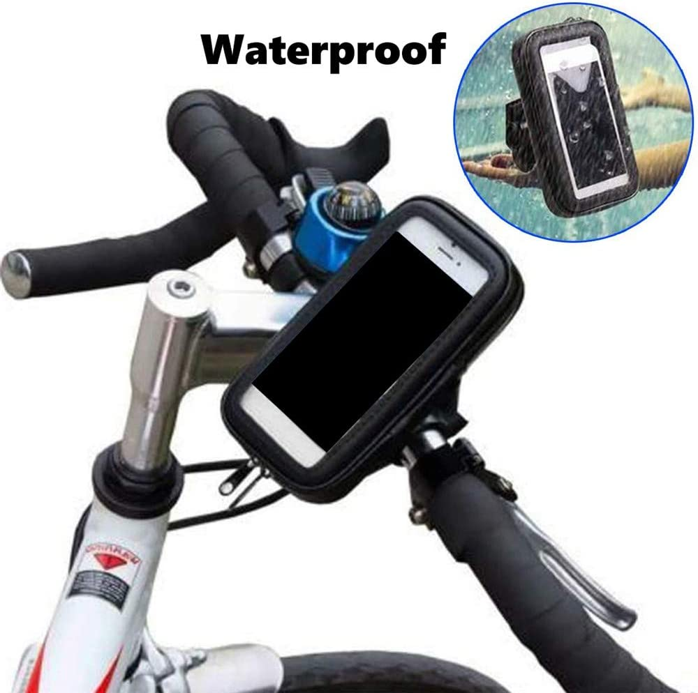 Bike Handlebar Bag 360/° Rotating Bicycle Front Frame Electric Motorcycle Rearview Mirror Navigation Bracket Waterproof and Rainproof Mobile Phone Bag Phone Holder