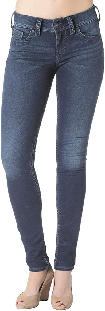 Silver Jeans Co Womens Suki Curvy Fit Mid Rise Straight Leg Jeans