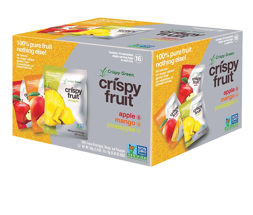 Crispy Green 100% All Natural Freeze-Dried Fruits, Tropical Variety Pack, (16 Count)