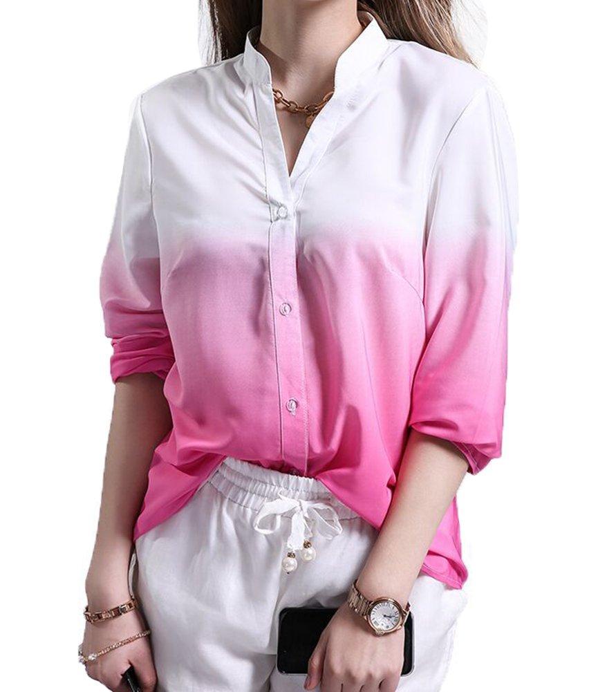 Las Mujeres Blusa De La Gasa Camisa Suelta De Manga Larga Blusa Camisera Cuello En V