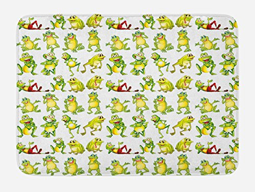 Ambesonne Nursery Bath Mat, Frogs in Different Positions Funny Happy Expressions Faces Toads Cartoon, Plush Bathroom Decor Mat with Non Slip Backing, 29.5