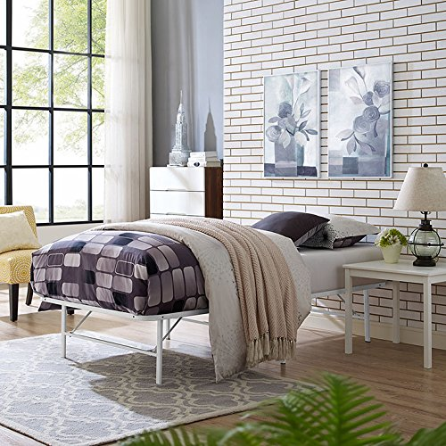 Modway Horizon Twin Bed Frame In White - Replaces Box Spring - Folding Portable Metal Mattress Bed Frame With Storage - Low Profile - Heavy - Horizon Bases