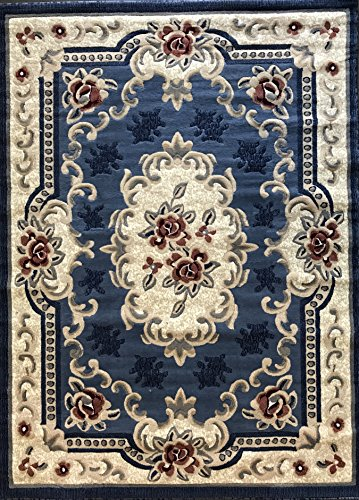 - emirates Traditional Aubusson Persian Area Rug Light Blue with Red Design 507 (5 Feet 3 Inch X 7 Feet 2 Inch)