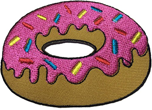 [Cute Pretty Strawberry donut patch SIZE 8 x 6cm. biker heavy metal Logo Jacket Vest shirt hat blanket backpack T shirt Patches Embroidered Appliques Symbol Badge Cloth Sign Costume] (80s Costumes For Family)