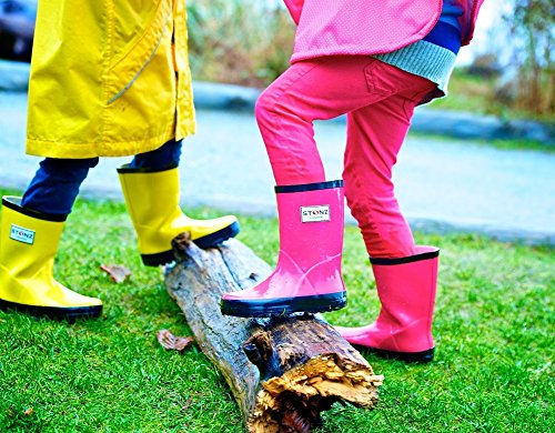 Stonz All-Natural Rubber Rainboot Rain Boots for Toddler Little Big Kid - Waterproof Colorful Warm - Summer Fall Winter - Red, Size 9T by Stonz (Image #6)