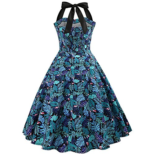 Dress Party Printed Pin Vintage Sleeveless s Halter CharMma Blue Floral Neck Women Up vqP4A1w