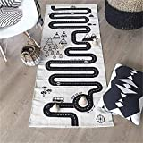 LISIBOOO Cotton Baby Infant Crawling Blanket,Play Games Floor Mat Road Adventure Racing Carpet,Kids Long Pad for Bedroom Playroom Nursery Classroom Indoor,5'9''x2'3'' Rectangle Area Rugs