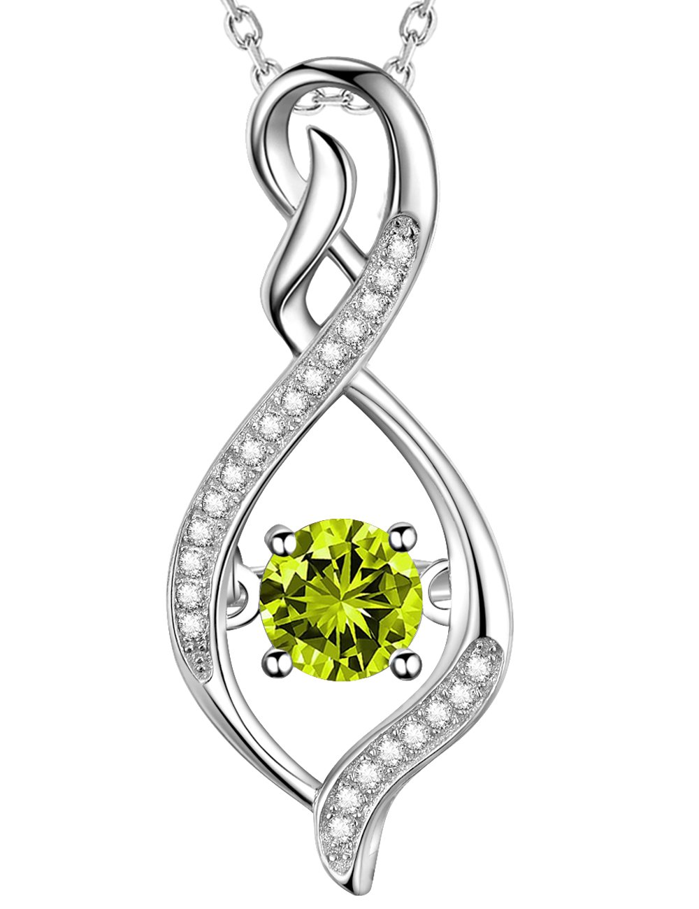 Green Peridot Necklace Infinity Love Pendant Jewelry Sterling Silver Swarovski Birthday Anniversary Gift for Her for wife for women by Elda&Co